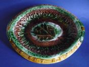 Colourful Begonia Leaf 'Eat thy Bread' Majolica Bread Platter c1880